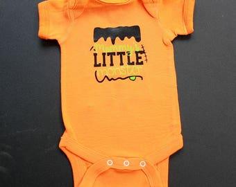 Baby Bodysuit - Mommy's Little Monster - One Piece Baby Creeper - Orange