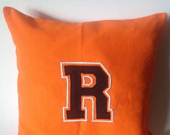 ON SALE Monogram pillows for teens, Personalized embroidered kids pillows, Orange Grommet Pillows, Dorm Decor, Varsity 20 inch Throw Pill...