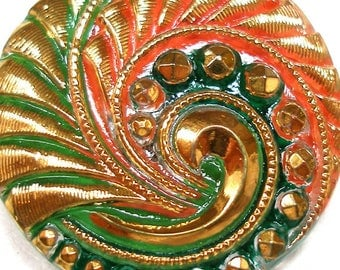 Spring Wave, Czech glass BUTTON, Green, orange & gold, 1 inch, 27mm.