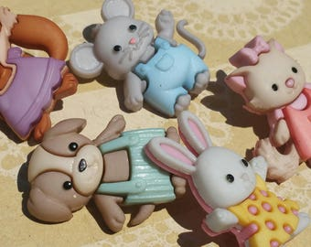 "Baby Animal Shank Buttons - Forever Friends - Darling Detailed Sewing Button - From 1 1/8"" Tall - 5 Buttons"