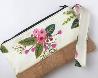 Cork Clutch - Zippered Clutch - Bouquet Clutch Purse - Wristlet Clutch - Wristlet Clutch Purse - Cork Wristlet Clutch - Floral Clutch