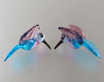 Lampwork Beads Glass Hummingbird Beads Aqua Blue and Amethyst Purple Hummingbirds Bird Beads RC Art Glass Lampwork Handmade Glass Beads