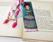 Frida y su LLuvia de Hojas -  Laminated Bookmark  Handmade - Original Art by FLOR LARIOS