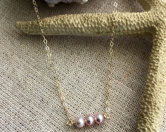 Three Pearl Necklace on Gold fill chain. Free Shipping!