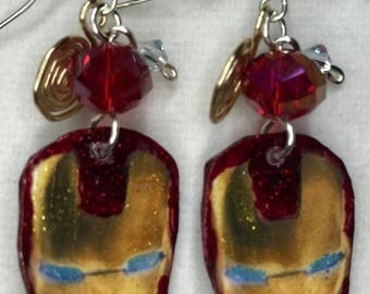 Iron Man Helmet Dangle Earrings