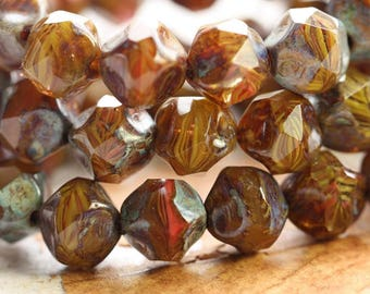AUTUMN NUGGETS .. 15 Picasso Czech Glass Baroque Beads 9mm (B7000-st)