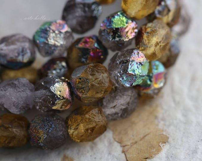GOLDEN GRAYS .. New 25 Premium Stone Picasso Czech Glass Beads 6mm (5851-st)