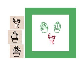 Mini Cactus and Succulent and Hug Me Rubber Stamp set