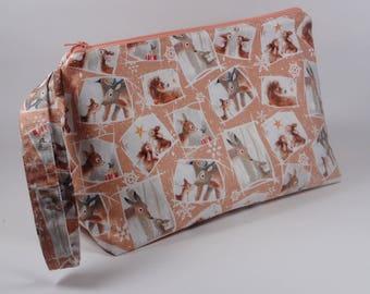 Cute Winter Animals Knitting Project Bag - Sock Project Bag - Zippered Project Bag - Crochet Project Bag - Wedge Bag - Christmas Bag