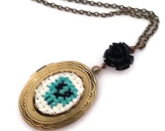 Teal Green Skull Cross stitch Locket necklace-xstitch Jewelry-fiber art-wearable art Jewellery-day of the dead necklace-Handmade Fashion