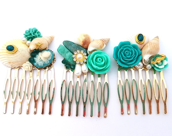 Featured listing image: Teal Golden Mermaid Combs Set of 3 Wedding Bridal Bridesmaid prom formal party fest Hochzeit Unique OOAK hair Haarspangen Haarkammen Pretty