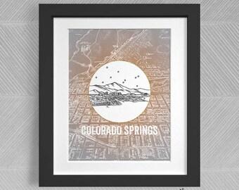 Colorado Springs, Colorado - United States - Instant Download Printable Art - Vintage City Skyline Map Series