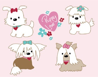 Four Cute Little  Puppies Clipart. Vector, Eps, Jpg and Png Files. Personal and Limited Commercial Use.