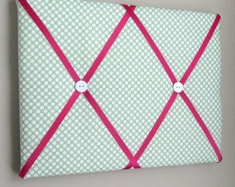 "11""x14"" Memory Board Green & Hot Pink Polka Dot, Memo Board, Ribbon Board, Vision Board, Dream Board, Bow Board, Photo Display"