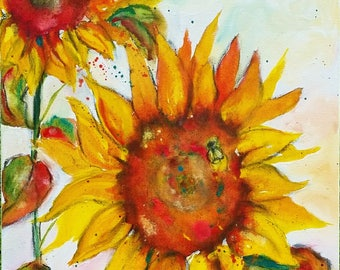 "Sunflower and Bumble Bee, 20"" h x 16"" w Original Painting"