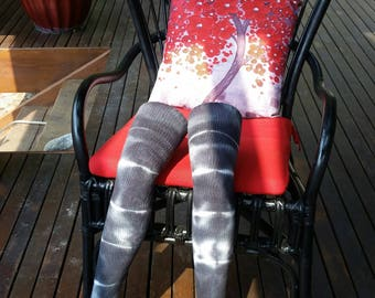 Gray striped tie-dye thigh high socks
