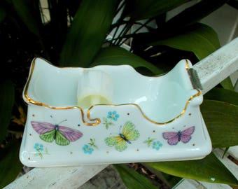 "Vintage 5.5"" White Gold Ceramic Porcelain Scotch Tape Dispenser Butterfly Design Ladies Desk"