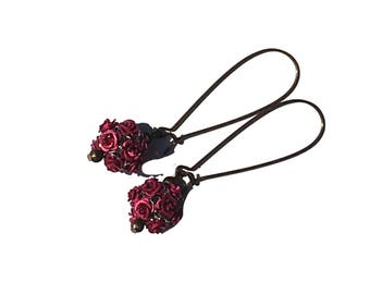 Bright Pink Flower Earrings