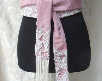 36% OFF Closet Cleaning WRAP BELT Whimsey Lace Moire' Fairylike Brides Weddings Ethereal  Handmade - Rose and Ivory