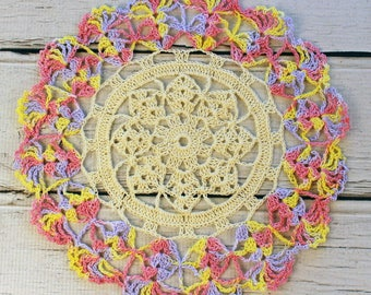 Crocheted Cream Pink Yellow Lavender Variegated Table Topper Doily - 10 1/2""