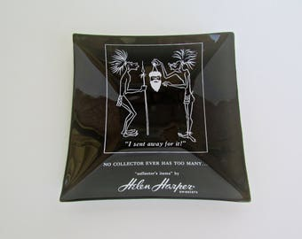 Helen Harper Sweater Advertisement, Racist Glass-Trinket Tray, c1960s, Souvenir of Intolerance & Misguided Humor