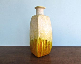 Large Marcello Fantoni Modern Rocklike Textured Surface w/ Chartreuse Drip Glaze / Popped- Bubbled Orange, Mid Century Italian Vase-Pottery
