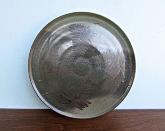 Duke Pottery, Green & Brown Stoneware Botanical Chop-Plate, Wheel Thrown Plate by Duke Stoneware #6206