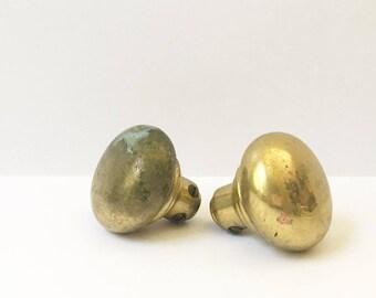 Brass Doorknobs 1950s Doorknob Door Handle Door Knob Old Hardware Pass through knobs