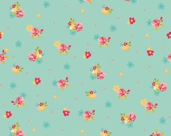 Hello Gorgeous ~ Floral Toss Mint ~ by My Mind's Eye for Riley Blake ~ By the Yard