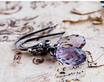 Summer Sale Drop Earrings, Crystal Earrings, Dangle Earrings, Sterling Silver, Mauve Drops, Swarovski Crystal, Swarovski Earrings, PoleStar