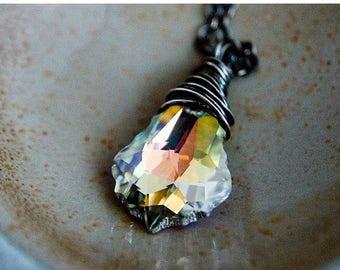 Crystal Necklace, Swarovski Crystal, Crystal Jewelry, Rainbow Crystal, Sterling Silver, Prism, PoleStar,