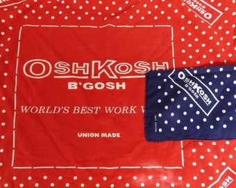 Oshkosh B Gosh home made bandana half apron 100% cotton, red white polka dot/navy white polka dot bandana Union made