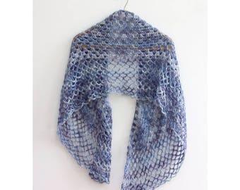 Blue Boho Shawl, Hand Crochet Lace Shawl, Evening Shawl Color, Cotton, Metallic