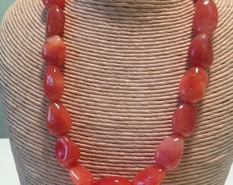 Orange chunky necklace, botzwana agate, statement necklace.