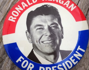 Ronald Reagan For President Large Pin 1980