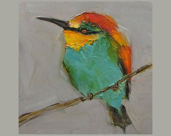 25% off sale Four Prints of BEE EATER BIRD Birds Colette W. Davis 4x4 Art Giclee print