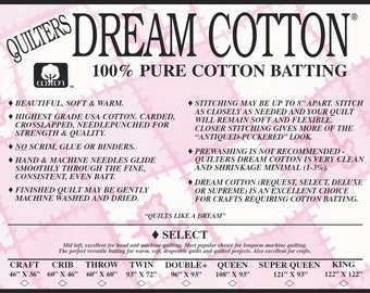 Quilters Dream Cotton Select Mid Loft Medium Weight Mixed Sampler Pack Natural & White Color Quilt Stuffing Machine Quilting