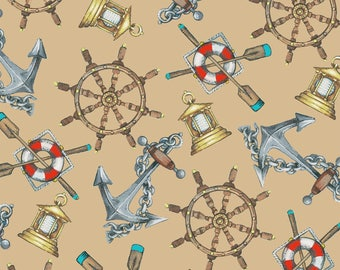 Beach Fabric Cotton Quilting High Tide Tan Nautical 42816-4  (1/2 yd) cuts Quilting Sewing Crafting Fabrics Material Quilts