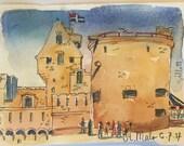 Towers of Carcassonne; original watercolor #6
