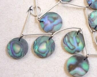 20% OFF SALE Rose Cut Briolette Beads Abalone Quartz Doublet Gemstone, Matched Pair, 16mm Round, Satin Matte
