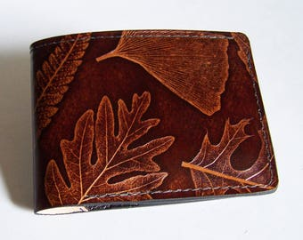 "Leather Wallet - Thin Bi-fold with Leaf Design - Men's Leather Wallet - ""A"" Style Interior"