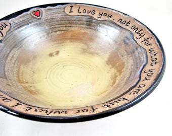 9th wedding Anniversary gift, ninth anniversary gift, Pottery anniversary gift,yellow pottery bowl with engraved love quote - In stock 147WB