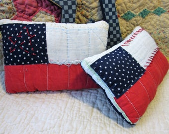 Primitive Americana Flag Pillows - Set of 2 Vintage Quilt Bowl Fillers/Shelf Sitters/Ornies