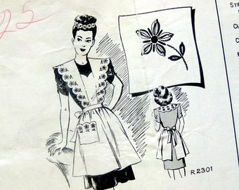 1940s Vintage Apron Sewing Pattern / Bib Pinafore APRON with Daisy Embroidery Transfer / Daisies Galore / Unused Pattern