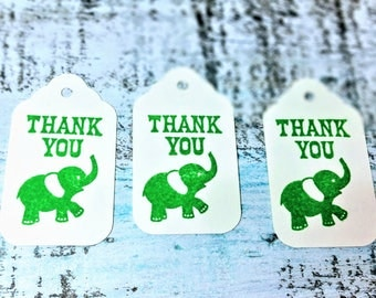 Thank you tags, elephant gift tags, Wedding favor tags, Bridal favor tags, Shower favor tag, Personalized Tag, Set of 10 tags, Favor tag set
