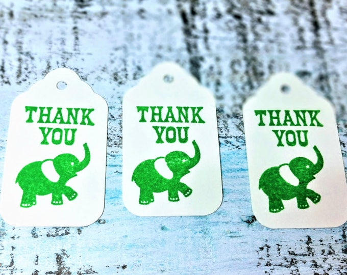 Elephant thank you gift tag set