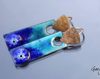 Emaux Gaelys - Outremer - boucles d'oreille cuivre émaillé et bronze clay - turquoise / bleu outremer - murines