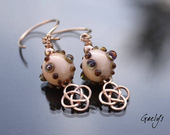 Infini - boucles d'oreille lampwork Gaelys / Vermeil gold rose - nœud celtique - bo gaelys