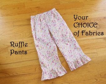 SLIM Ruffle Pants for Baby or Toddler Girls in YOUR CHOICE of Designer fabrics - 9 months to size 8