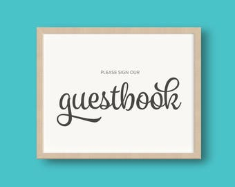 PRINTED Sign Our Guestbook Wedding Reception Sign Foil or Matte 8x10